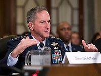 United States Air Force General David L. Goldfein, Chief of Staff of the Air Force gives testimony before the US Senate Committee on Armed Services Subcommittee on Readiness and Management Support during a hearing titled &quot;US Air Force Readiness&quot; on Capitol Hill in Washington, DC on Wednesday, October 10, 2018.<br /> Credit: Ron Sachs / CNP /MediaPunch