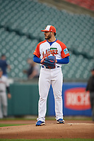 "Buffalo Bisons starting pitcher Shawn Morimando (43) during an International League game against the Scranton/Wilkes-Barre RailRiders on June 5, 2019 at Sahlen Field in Buffalo, New York.  The Bisons wore special uniforms as they played under the name the ""Buffalo Wings"". Scranton defeated Buffalo 3-0, the first game of a doubleheader. (Mike Janes/Four Seam Images)"