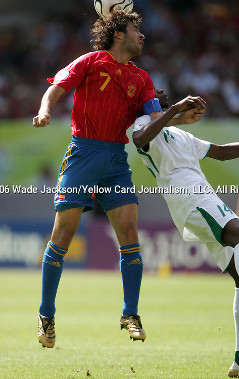 23 June 2006: Raul (ESP) (7) head the ball over Saud Khariri (KSA) (14). Saudi Arabia lost to Spain at Fritz-Walter Stadion in Kaiserslautern, Germany in match 47, a Group H first round game, of the 2006 FIFA World Cup.