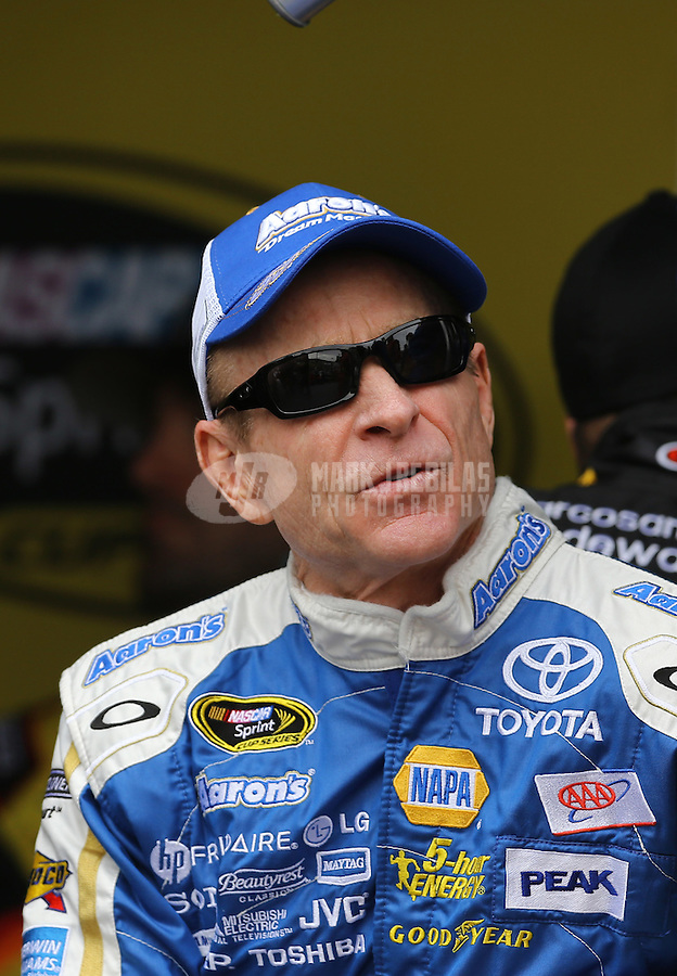 Mar. 3, 2013; Avondale, AZ, USA; NASCAR Sprint Cup Series driver Mark Martin during the Subway Fresh Fit 500 at Phoenix International Raceway. Mandatory Credit: Mark J. Rebilas-