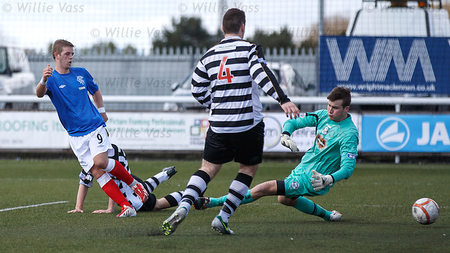 David Templeton strokes home the fourth goal for Rangers past keeper Grant Hay