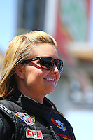 Apr 11, 2015; Las Vegas, NV, USA; NHRA pro stock driver Erica Enders-Stevens during qualifying for the Summitracing.com Nationals at The Strip at Las Vegas Motor Speedway. Mandatory Credit: Mark J. Rebilas-