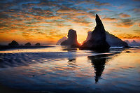 Sunset at Bandon Beach. Oregon