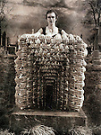 A conceptual image of a young woman in a graveyard with many hands