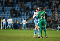Cian Harries & Goalkeeper Reice Charles-Cook of Coventry City celebrate the 2nd goal during the The Checkatrade Trophy - EFL Trophy Semi Final match between Coventry City and Wycombe Wanderers at the Ricoh Arena, Coventry, England on 7 February 2017. Photo by Andy Rowland.