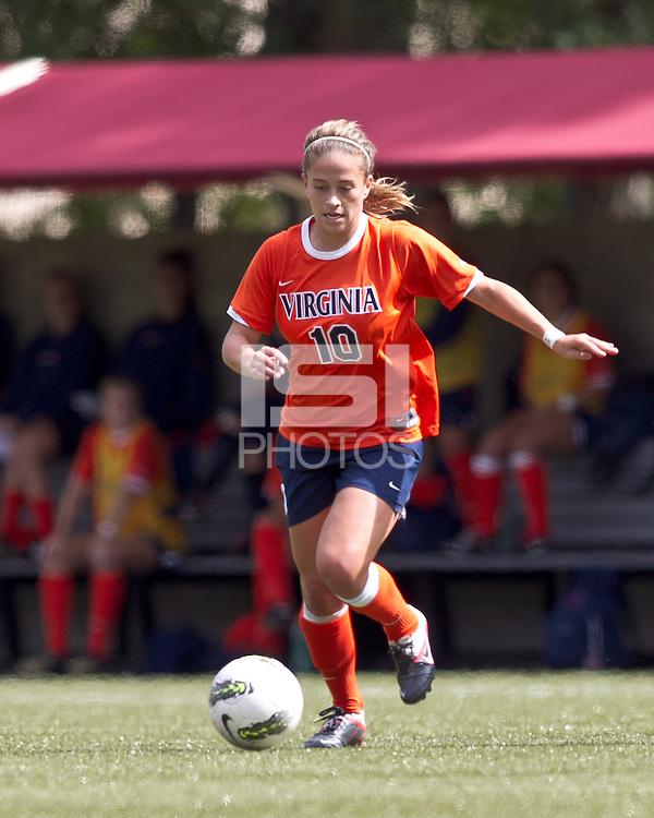University of Virginia forward Caroline Miller (10) brings the ball forward. Boston College defeated University of Virginia, 2-0, at the Newton Soccer Field, on September 18, 2011.
