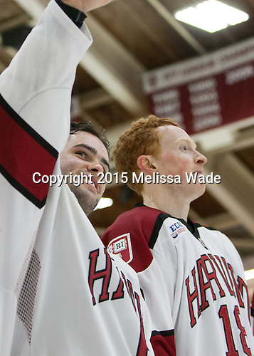Colin Blackwell (Harvard - 63), Mike Seward (Harvard - 18) - The Harvard University Crimson defeated the visiting Princeton University Tigers 5-0 on Harvard's senior night on Saturday, February 28, 2015, at Bright-Landry Hockey Center in Boston, Massachusetts.