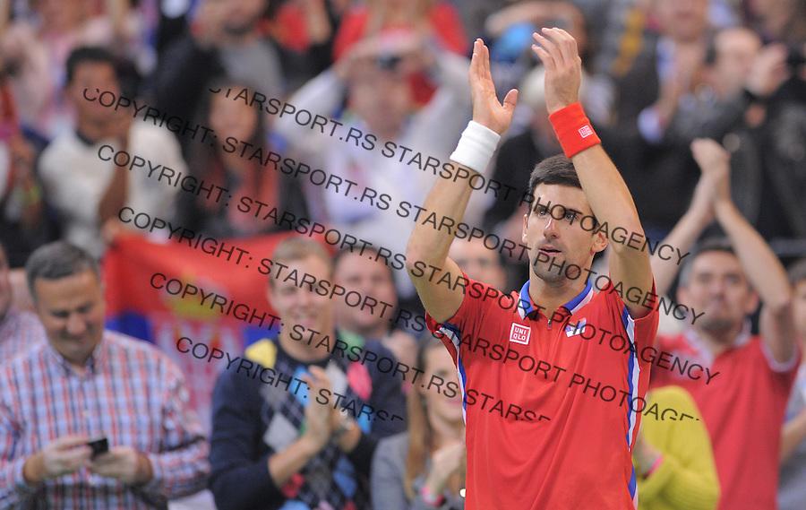 Tennis Tenis<br /> Davis Cup Final 2013<br /> Serbia v Czech Republic<br /> Novak Djokovic v Tomas Berdych<br /> Novak Djokovic celebrates<br /> Beograd, 17.11.2013.<br /> foto: Srdjan Stevanovic/Starsportphoto &copy;
