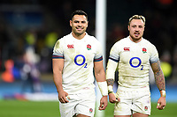 Ben Te'o of England looks on with team-mate Jack Nowell after the match. Natwest 6 Nations match between England and Wales on February 10, 2018 at Twickenham Stadium in London, England. Photo by: Patrick Khachfe / Onside Images