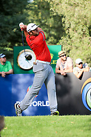 Jon Rahm (ESP) on the 16th during the final round of the DP World Tour Championship, Jumeirah Golf Estates, Dubai, United Arab Emirates. 19/11/2017<br /> Picture: Golffile | Fran Caffrey<br /> <br /> <br /> All photo usage must carry mandatory copyright credit (© Golffile | Fran Caffrey)