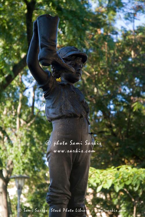 The iconic 'El Nino de la Bota' ('Child with a boot') statue in Parque Vidal, Santa Clara, Villa Clara, Cuba.