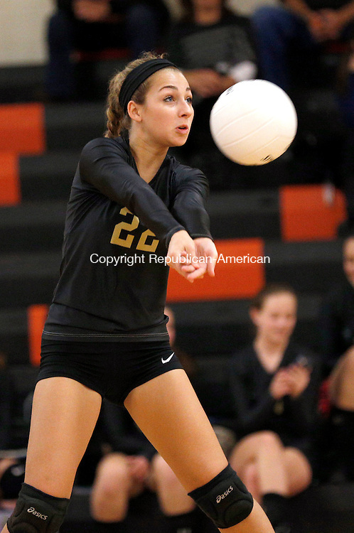 Watertown, CT- 28 October 2015-102815CM02-  Woodland's McKenna Cronin braces for the ball during their NVL matchup against Watertown on Wednesday.     Christopher Massa Republican-American