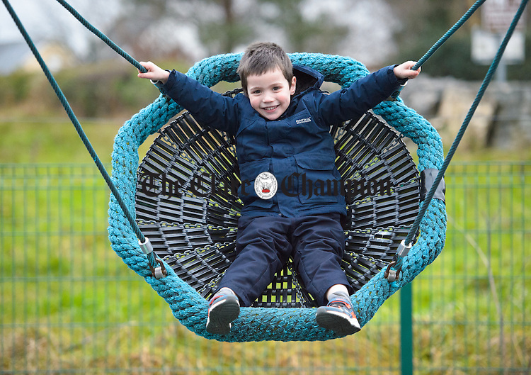 Louis Varigny of Newmarket On Fergus playing in the playground at Quin. Photograph  by John Kelly.