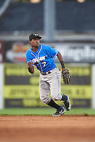 Hudson Valley Renegades shortstop Joseph Astacio (7) fields a ground ball during a game against the Batavia Muckdogs on August 2, 2016 at Dwyer Stadium in Batavia, New York.  Batavia defeated Hudson Valley 2-1.  (Mike Janes/Four Seam Images)