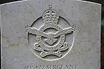 Close up of headstone of serviceman of Australian Royal Airforce, Yatesbury, Wiltshire, England, UK