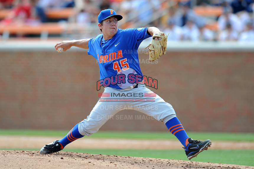 Florida Gators pitcher Johnny Magliozzi #45 delivers a pitch during a game against the Tennessee Volunteers at Lindsey Nelson Stadium, Knoxville, Tennessee April 14, 2012. The Volunteers won the game 5-4  (Tony Farlow/Four Seam Images)..
