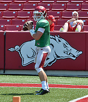 NWA Democrat-Gazette/MICHAEL WOODS &bull; @NWAMICHAELW<br /> University of Arkansas quarterback Rafe Peavey runs drills during practice Saturday, August 15, 2015 at Razorback Stadium in Fayetteville.