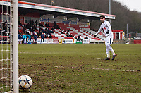 Samuel Shashoua of Spurs U19 hits the post with the first penalty during the UEFA Youth League round of 16 match between Tottenham Hotspur U19 and Monaco at Lamex Stadium, Stevenage, England on 21 February 2018. Photo by Andy Rowland.