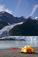 Camping near Cascade Glacier in Harrimon Fiord, Prince William Sound, Chugach National Forest, Alaska.