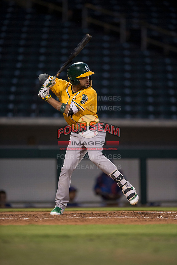 AZL Athletics shortstop Yerdel Vargas (2) at bat during an Arizona League game against the AZL Cubs 1 at Sloan Park on June 28, 2018 in Mesa, Arizona. The AZL Athletics defeated the AZL Cubs 1 5-4. (Zachary Lucy/Four Seam Images)