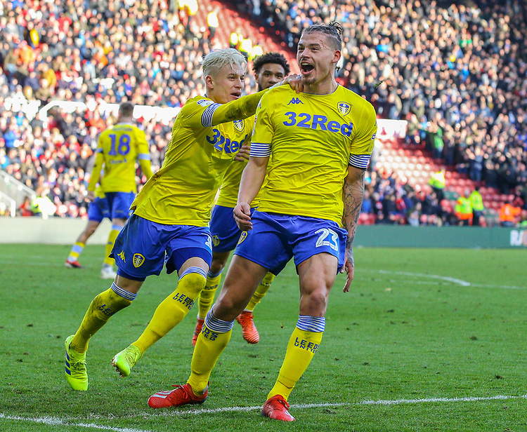 Leeds United's Kalvin Phillips celebrates scoring an equaliser in the 101st minute<br /> <br /> Photographer Alex Dodd/CameraSport<br /> <br /> The EFL Sky Bet Championship - Middlesbrough v Leeds United - Saturday 9th February 2019 - Riverside Stadium - Middlesbrough<br /> <br /> World Copyright &copy; 2019 CameraSport. All rights reserved. 43 Linden Ave. Countesthorpe. Leicester. England. LE8 5PG - Tel: +44 (0) 116 277 4147 - admin@camerasport.com - www.camerasport.com