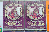 Poster of 50th Sagra dell'Amatriciana outdoor The Funeral earthquake on PalaSport Monticelli in Ascoli Piceno  August 27, 2016, in Marche, Italy. Photo by Adamo Di Loreto