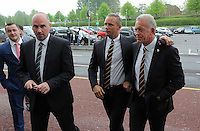 Pictured L-R: Ian Mitchell, Lee Trundle and Alan Curtis arrive Wednesday 11 May 2016<br /> Re: Awards Dinner 2016, at the Liberty Stadium, south Wales, UK.