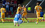 Motherwell v St Johnstone...11.08.12.Bob McHugh celebrtates his goal as Rown Vine can't believe they have conceded.Picture by Graeme Hart..Copyright Perthshire Picture Agency.Tel: 01738 623350  Mobile: 07990 594431
