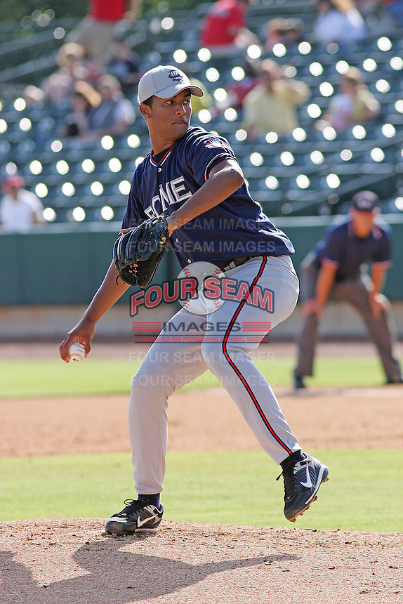 Randall Delgado of the Rome Braves piching against the Charleston RiverDogs in Charleston, SC on June 7, 2009
