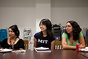 Stephanie Chan (center), 19-yrs, of Sugar Land, Texas who will be attending M.I.T. listens to Heloise alongside Katherine Ramos (left), 16-yrs, of El Paso, Texas, and Karen Vazquez (right), 21-yrs, of McAllen, Texas.  Heloise talks to students at the Honors Summer Math Camp at Texas State University in San Marcos, Texas about living away from home.  July 14, 2009.