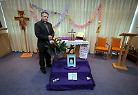 Pictured: A book of rememberance and tributes have been set at Archbishop McGrath Catholic School where Rebecca Aylward was a pupil by her headteacher Rev Dr Philip Manghan (pictured), although the school is closed for half term. Wednesday 27 October 2010<br />