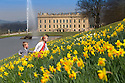 08/04/15<br /> <br /> Amelia Bradley (5) runs through daffodils with her brother Harry Bradley (3) as fantastic spring weather continues at Chatsworth House in the Derbyshire Peak District.<br /> <br /> All Rights Reserved - F Stop Press.  www.fstoppress.com. Tel: +44 (0)1335 418629 +44(0)7765 242650