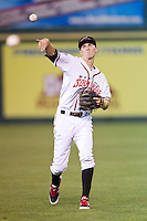 Matt Duffy (9) of the Richmond Flying Squirrels warms up in the outfield prior to the game against the New Hampshire Fisher Cats at The Diamond on June 13, 2014 in Richmond, Virginia.  The Fisher Cats defeated the Flying Squirrels 6-3.  (Brian Westerholt/Four Seam Images)