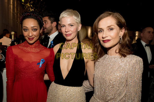 Ruth Negga, Michelle Williams, and Isabelle Huppert attend the Governor's Ball after the live ABC Telecast of The 89th Oscars&reg; at the Dolby&reg; Theatre in Hollywood, CA on Sunday, February 26, 2017.<br /> *Editorial Use Only*<br /> CAP/PLF/AMPAS<br /> Supplied by Capital Pictures