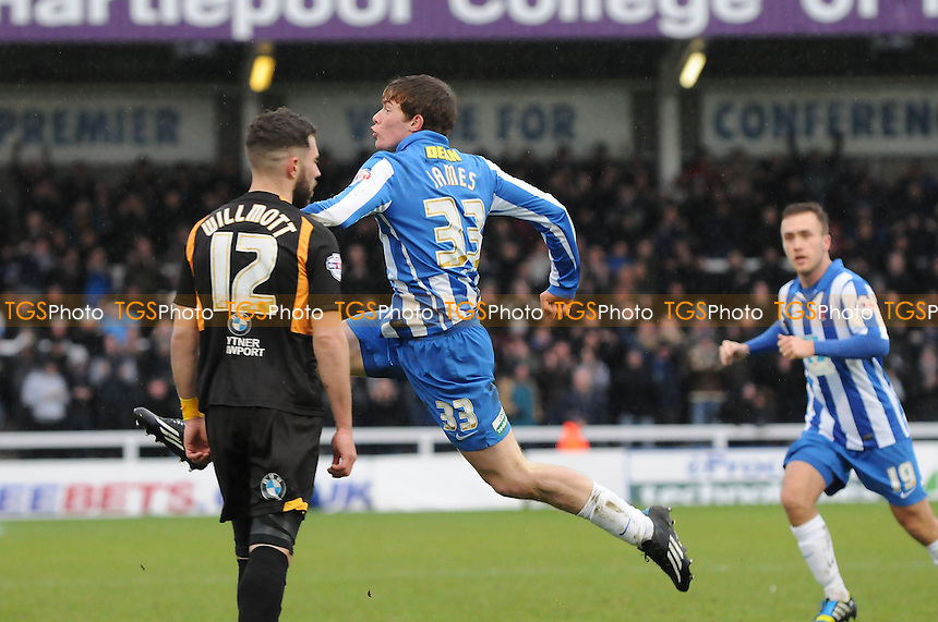 Luke James of Hartlepool United celebrates scoring the opening goal of the game - Hartlepool United vs Newport County - Sky Bet League Two Football at Victoria Park, Hartlepool, County Durham - 15/02/14 - MANDATORY CREDIT: Steven White/TGSPHOTO - Self billing applies where appropriate - 0845 094 6026 - contact@tgsphoto.co.uk - NO UNPAID USE