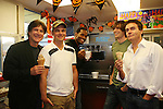 Frank Dicopoulos - Daniel Cosgrove - Lawrence Saint-Victor - Zack Conroy - Kurt McKinney - Guiding Light's actors make ice cream cones  at Stacy Jo's Ice Cream in McKees Rocks, PA on September 30, 2009. During the weekend of events proceeds from pink ribbon bagel sales at various Panera Bread locations will benefit the Young Women's Breast Cancer Awareness Foundation. (Photo by Sue Coflin/Max Photos)