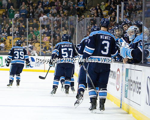 The Black Bears celebrate Flynn's goal. - The Boston College Eagles defeated the University of Maine Black Bears 4-1 to win the 2012 Hockey East championship on Saturday, March 17, 2012, at TD Garden in Boston, Massachusetts.