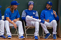 Los Angeles Dodger Walter Buehler involved in conversation with Rancho Cucamonga Quakes Stetson Allie (23) and Jordan Sheffield (11) at LoanMart Field on May 2, 2018 in Rancho Cucamonga, California. The Nuts defeated the Quakes 11-4.  (Donn Parris/Four Seam Images)