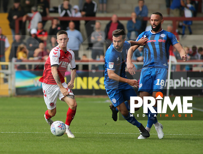 Ashley Hunter of Fleetwood Town on the attack during the Sky Bet League 1 match between Fleetwood Town and Rochdale at Highbury Stadium, Fleetwood, England on 18 August 2018. Photo by Stephen Gaunt / PRiME Media Images.