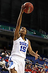 03 March 2016: Duke's Kyra Lambert. The Duke University Blue Devils played the University of Virginia Cavaliers at the Greensboro Coliseum in Greensboro, North Carolina in the Atlantic Coast Conference Women's Basketball tournament and a 2015-16 NCAA Division I Women's Basketball game. Duke won the game 57-53.