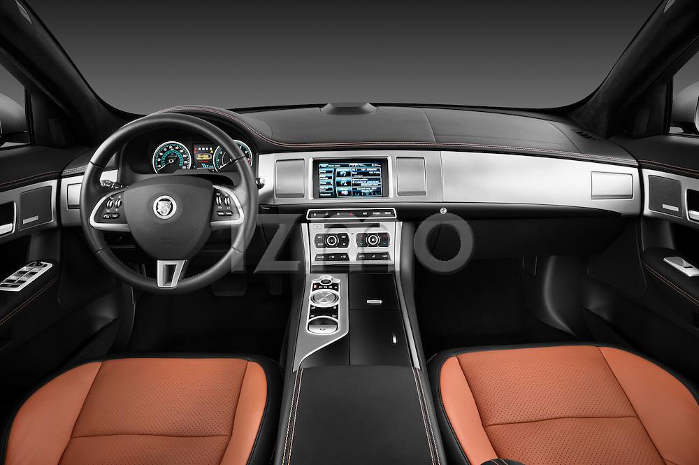 Straight dashboard view of a 2012 Jaguar XF Portfolio