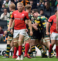 Teimana Harrison of Northampton Saints celebrates team-mate Dylan Hartley's try. Aviva Premiership match, between Northampton Saints and Saracens on April 16, 2017 at Stadium mk in Milton Keynes, England. Photo by: Patrick Khachfe / JMP