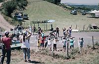 breakaway group up the Montée de Naves d'Aubrac (Cat1/1058m/8.9km/6.4%) with Polka Dot Jersey / KOM leader Warren Barguil (FRA/Sunweb) leading the way<br /> <br /> 104th Tour de France 2017<br /> Stage 15 - Laissac-Sévérac l'Église › Le Puy-en-Velay (189km)