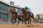 HOT SPRINGS, AR - MARCH 17: #10 Combatant with jockey Ricardo Santana and #3 Solomini with jockey Flavien Prat. Rebel Stakes at Oaklawn Park on March 17, 2018 in Hot Springs, Arkansas. (Photo by Ted McClenning/Eclipse Sportswire/Getty Images)