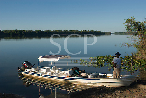 Mato Grosso State, Brazil.  Aldeia Metuktire. The 'Coração do Brasil' voadeira aluminium boat of the Heart of Brazil Expedition loaded and ready to leave.