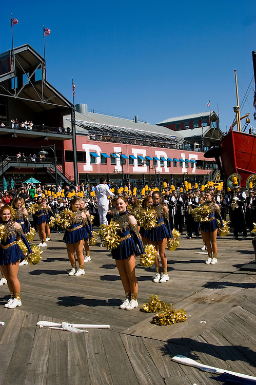 New York City, New York: High school band at South Street Seaport..Photo #: 248-14678  .Photo copyright Lee Foster, www.fostertravel.com, lee@fostertravel.com, 510-549-2202.