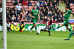 Kieron Freeman of Sheffield Utd shoots during the Championship league match at Bramall Lane Stadium, Sheffield. Picture date 28th April, 2018. Picture credit should read: Harry Marshall/Sportimage