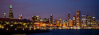 Panorama of the Chicago Skyline and Shedd Aquarium at twilight