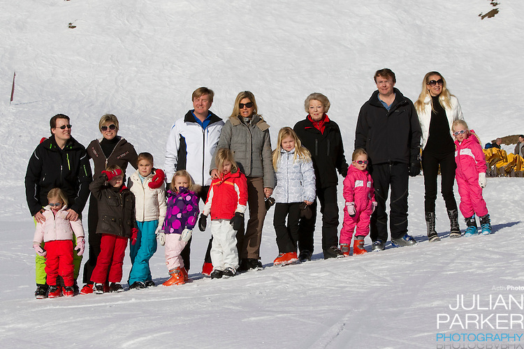 Queen Beatrix of Holland attends a Photocall with Members of The Dutch Royal Family during their Winter Ski Holiday in Lech Austria