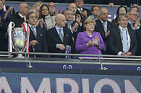 25.05.2013, Wembley Stadion, London, ENG, UEFA Champions League, FC Bayern Muenchen vs Borussia Dortmund, Finale, im Bild Michel PLATINI - Uefa Mitglied - Bundeskanzlerin Angela MERKEL - Wolfgang NIERSBACH // during the UEFA Champions League final match between FC Bayern Munich and Borussia Dortmund at the Wembley Stadion, London, United Kingdom on 2013/05/25. EXPA Pictures © 2013, PhotoCredit: EXPA/ Eibner/ Gerry Schmit<br /> <br /> ***** ATTENTION - OUT OF GER ***** <br /> 25/5/2013 Wembley<br /> Football 2012/2013 Champions League<br /> Finale <br /> Borussia Dortmund Vs Bayern Monaco <br /> Foto Insidefoto